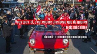 Théo Gmür, triple champion olympique à PyeongChang, fêté en héros par un millier de personnnes à Nendaz