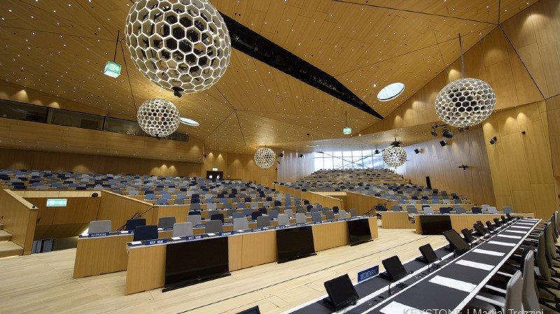 La salle de conférence de l'OMPI dans l'un des nouveaux bâtiments de l'Organisation Mondiale de la Propriété Intellectuelle (archives).