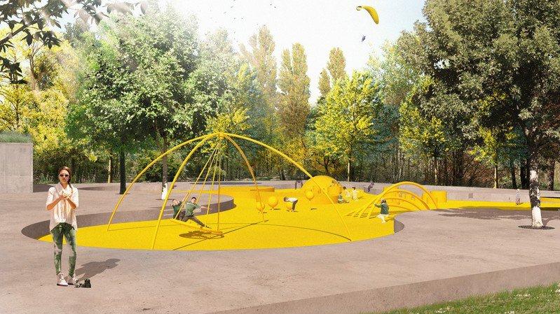 Une place de jeux, du gazon, des toilettes publiques et un parking vont changer le visage de l'ouest de l'école à Bramois.