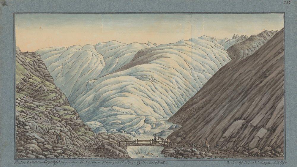 Dessin de Hans Conrad Escher de la Linth le représentant à cheval devant le glacier du Mont Durand entouré notamment de Jean de Charpentier et d'Ignace Venetz en août 1820.