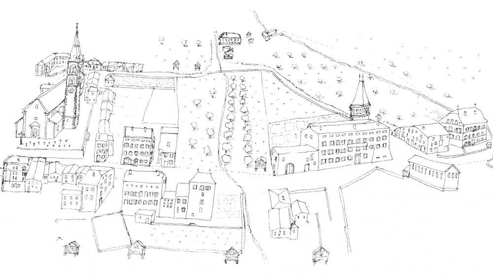 Reproduction de Martigny-Ville, avant la catastrophe du Giétro.