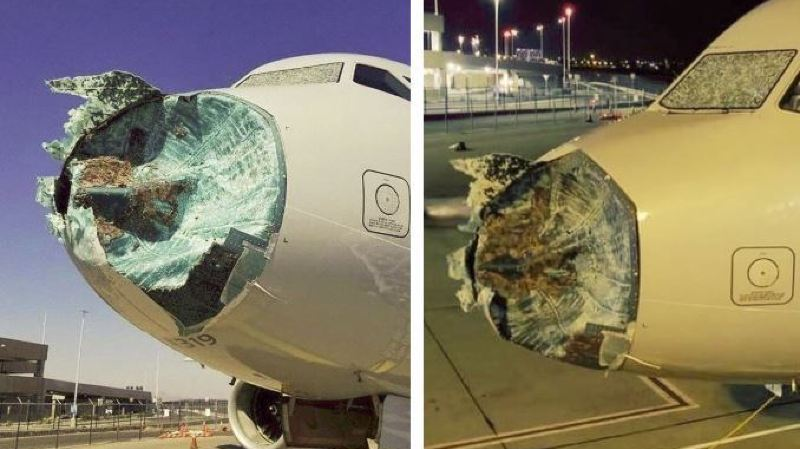 Le nez et le pare-brise de l'appareil ont été sérieusement endommagés.