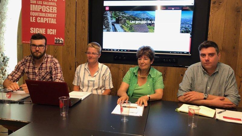 Simon Constantin, Barbara Lanthemann, Sonia Z'Graggen et Fabien Thétaz ont présenté la plateforme électorale du PS du Valais romand.