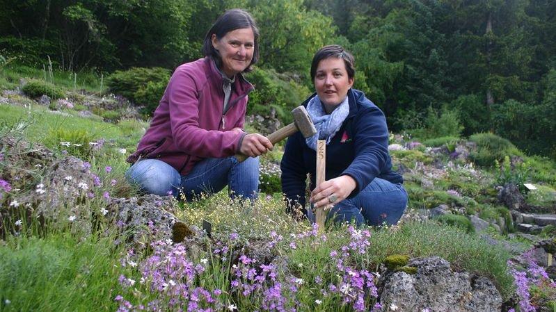 Anne-Valérie Liand (à droite) et l'horticultrice Marie-Lyse Dorsaz sont en pleine préparation de l'exposition qui ouvrira ses portes ce samedi 23 juin.