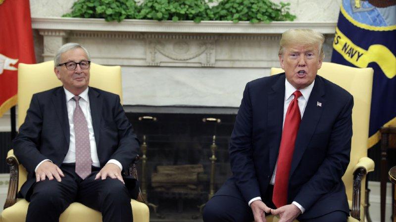 Donald Trump et Jean-Claude Juncker se sont mis d'accord sur l'objectif zéro taxe douanière entre les USA et l'EU.