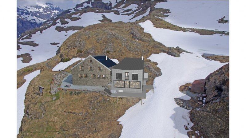 Comme le montre cette vue virtuelle, le projet de rénovation de Chanrion prévoit la construction d'une annexe adjacente à la cabane actuelle.