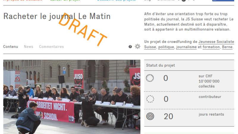 """Rachat du """"Matin"""": les Jeunes socialistes suisses veulent barrer la route à Constantin"""