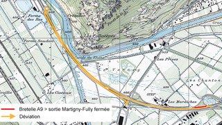 A9 Martigny et environs: plusieurs fermetures nocturnes agendées