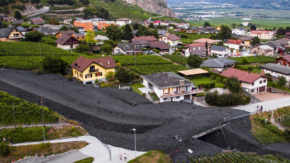 La coulée de boue a engendré plus d'un demi-million de francs de dégâts à Chamoson.