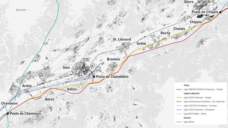 Le tracé en rouge indique où passera la ligne THT.