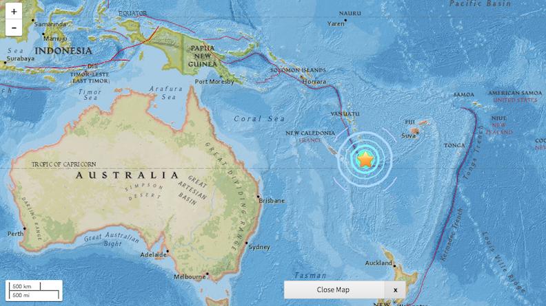 La zone touchée se trouve dans le Pacifique, à l'Est de l'Australie.
