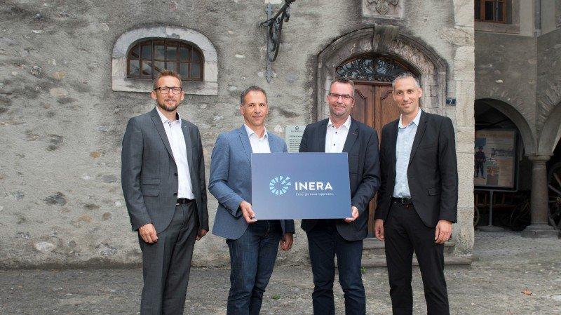 Les directeurs opérationnels des quatre sociétés - Olivier Studer (SI Fully), Joël Di Natale (ALTIS), Philippe Délèze (SEIC-Télédis) et Samuel Claret (SED2) réunis autour de la nouvelle société INERA.