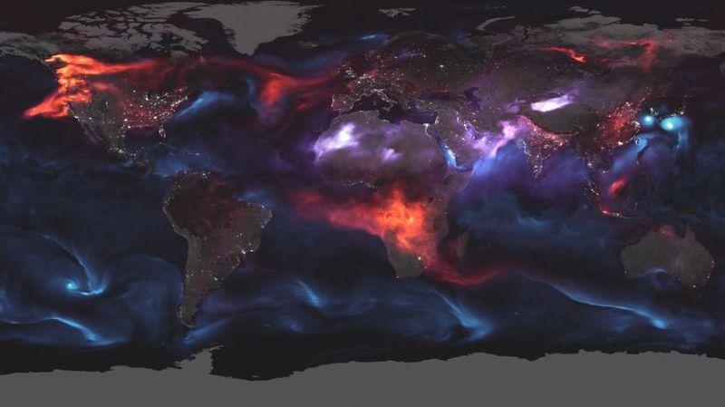 Vision impressionnante des aérosols vus de l'espace.