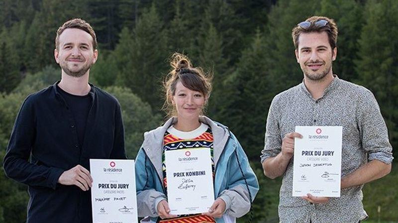 Maxime Fayet gagnant de la catégorie photo,  Délia Zufferey  gagnante du Prix Konbini  et  Jason Sereftug gagnant de la catégorie vidéo.