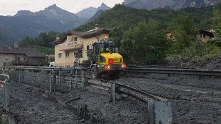Valais: une lave torrentielle provoquée par un orage est descendue sur Chamoson, les travaux de déblaiement sont en cours