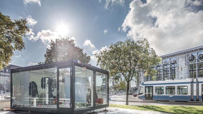 Un projet de Start-up se construit à la vue de tous. L'un des cubes 2017, à Zurich.