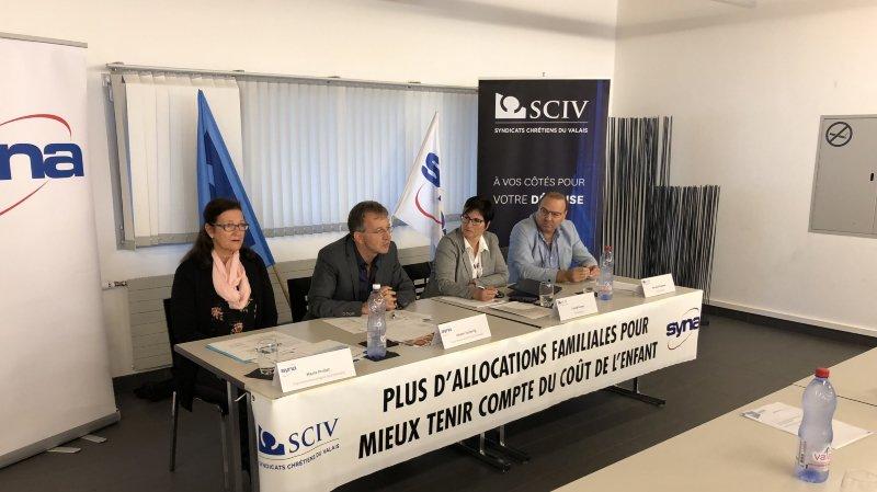 Les Syndicats chrétiens du Valais et Syna Oberwallis ont lancé vendredi matin leur initiative cantonale qui revendique davantage d'allocations familiales.