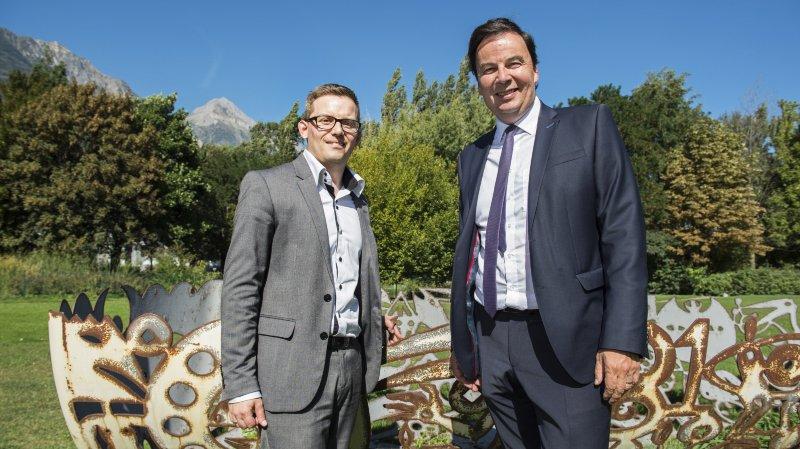 Philippe Varone préside l'Antenne Région Valais romand. Il est accompagné du nouveau directeur Mathieu Pernet.