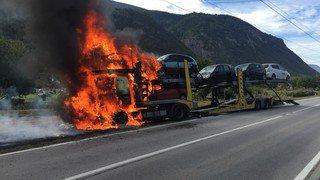 Un camion prend feu entre Granges et Grône