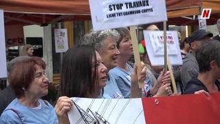 Valais: 250 manifestants devant le Grand Conseil disent stop aux travaux de la ligne THT