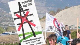 Manifestation des opposants à la ligne Chamoson-Chippis