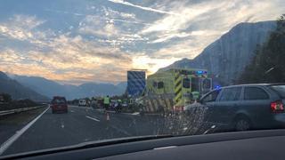 Valais: trois véhicules impliqués dans un accident sur l'autoroute A9