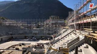 Le chantier de la patinoire Lonza Arena à Viège