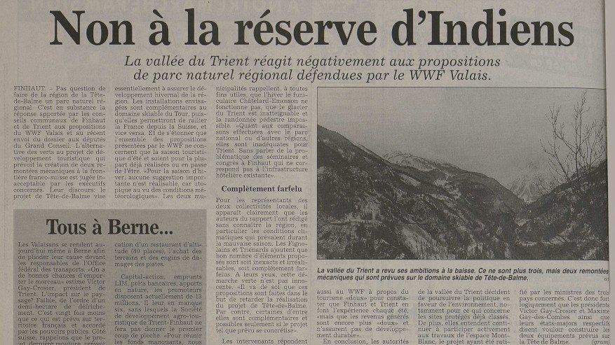 En 1996, «Le Nouvelliste» faisait écho du projet de parc naturel porté par le WWF.
