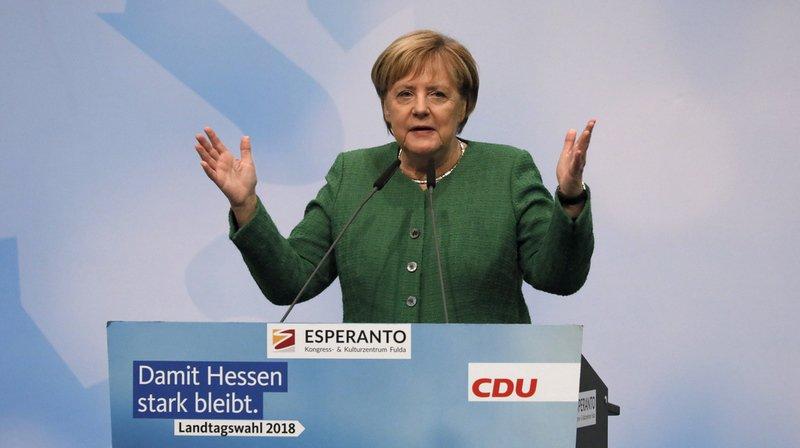 L'Union démocrate-chrétienne (CDU) d'Angela Merkel est arrivé en tête du scrutin de l'État-région de Hesse avec entre 27 et 28% des voix.