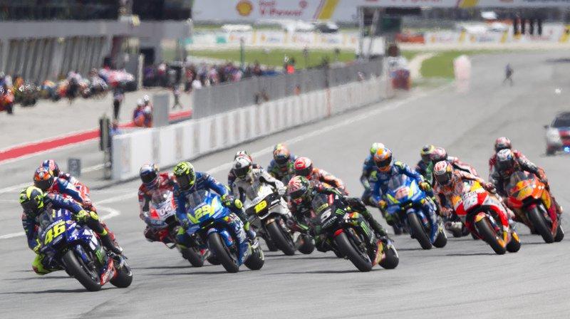 L'Italien Valentino Rossi a mené une bonne partie de la course avant de chuter.