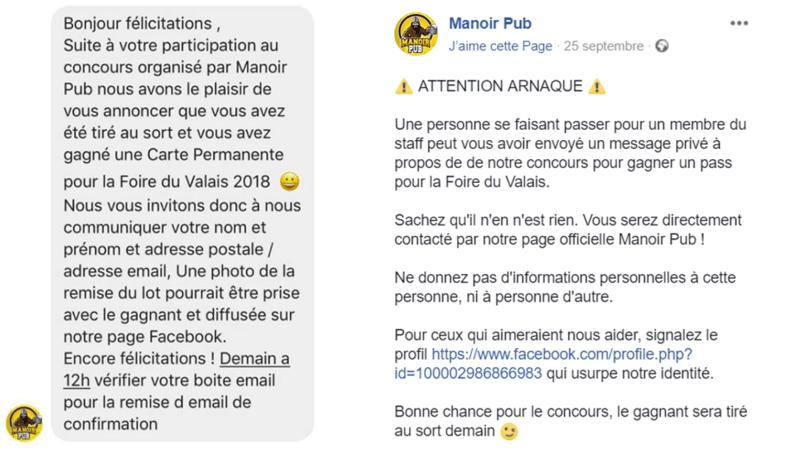 Bas-Valais: le Manoir Pub et le Château de la Bâtiaz victimes d'une arnaque sur Facebook