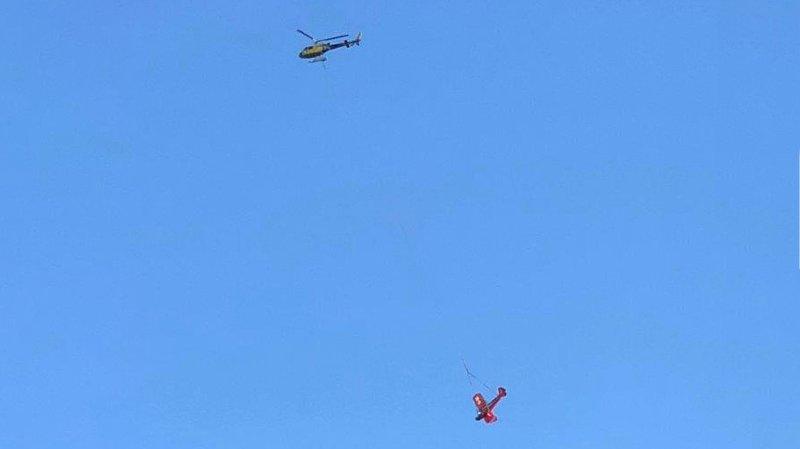 Un hélicoptère d'Eagle Valais a secouru un petit avion.