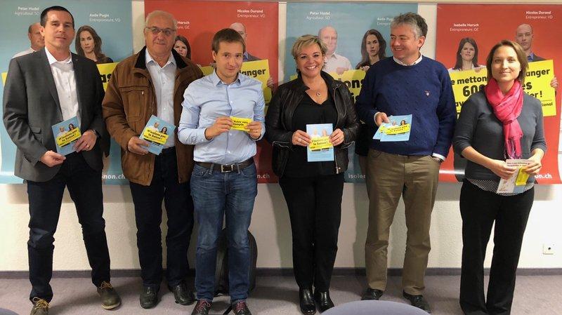 Mischa Imboden, Alex Schwestermann, Philippe Nantermod, Géraldine Marchand-Balet, Jean-Pascal Fournier et Katia Chevrier ont présenté en commun leurs arguments contre l'initiative de l'UDC sur les juges étrangers.