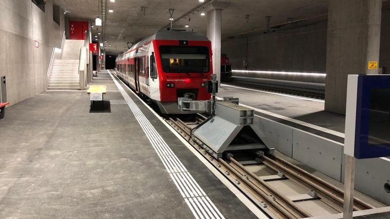 La nouvelle gare d'arrivée est une galerie conçue pour accueillir également des trains CFF.