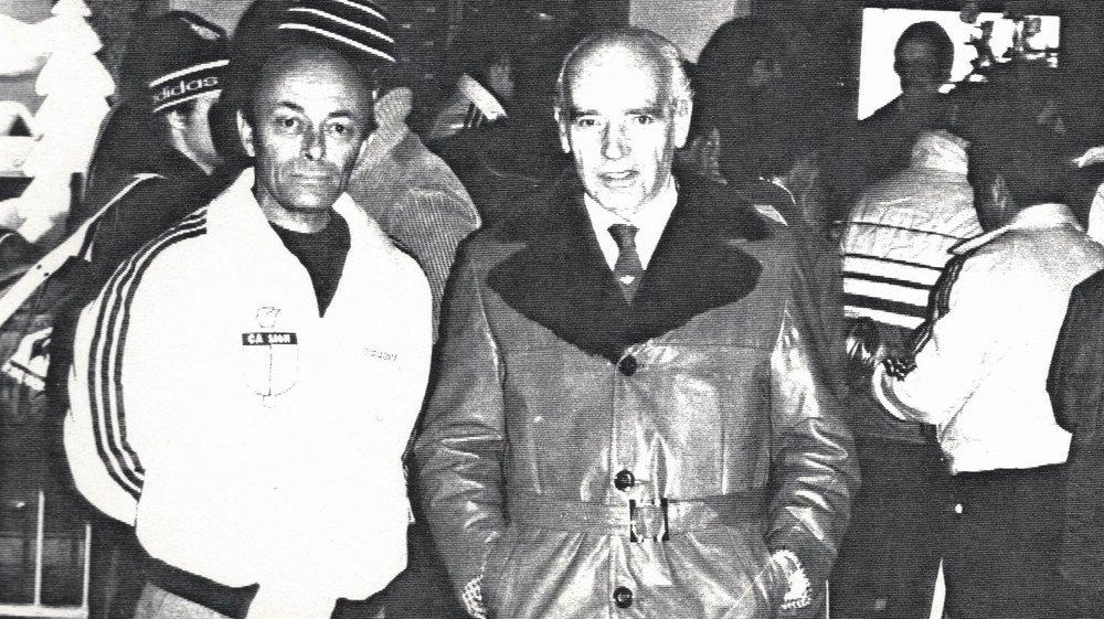 Georges Hischier et Otto Titzé, les deux premiers organisateurs de la Course de Noël, en 1969.