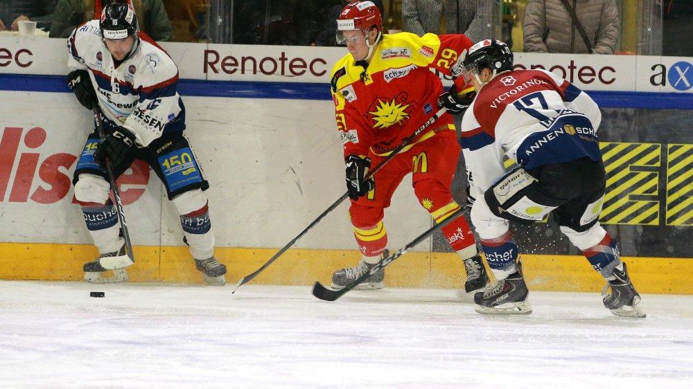 Gil Ducret et ses coéquipiers de la deuxième ligne ont inscrit deux buts. Les deux seuls pour Sierre.