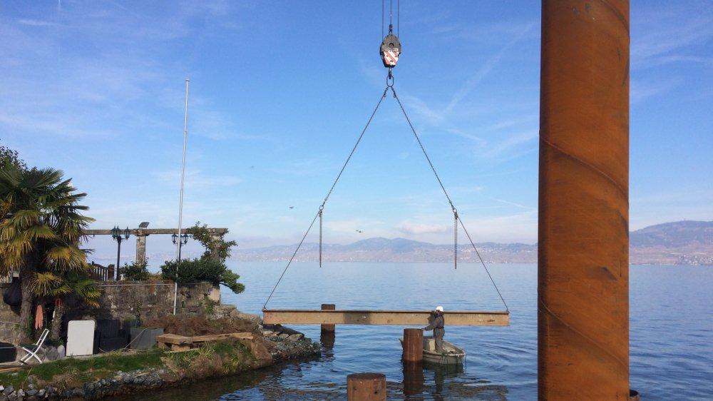 Les travaux de génie civil s'achèvent cette semaine à l'embouchure de la Morge. La passerelle sera posée en janvier.