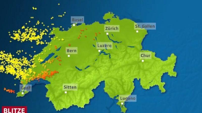 Des orages ont éclaté ce lundi soir sur la Suisse.