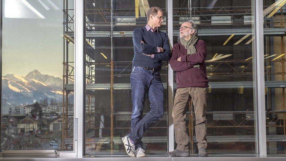 Jessen Page, professeur HES, et François Maréchal, professeur en systèmes énergétiques à l'EPFL collaborent étroitement. Le futur campus Energypolis sera leur labo.