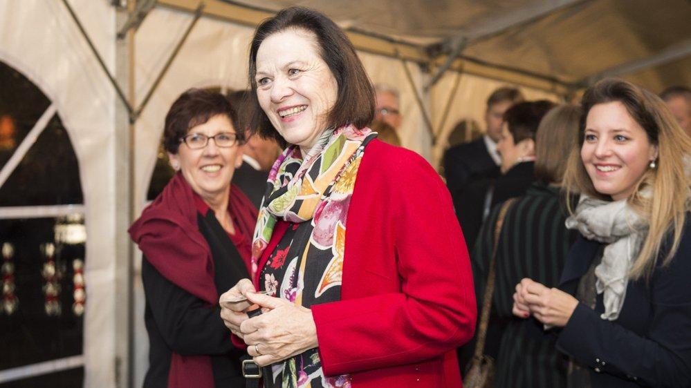 La présidente du gouvernement Esther Waeber-Kalbermatten avec la présidente du Parlement Anne-Marie Sauthier-Luyet et la présidente du PDC du Haut-Valais Franziska Biner.