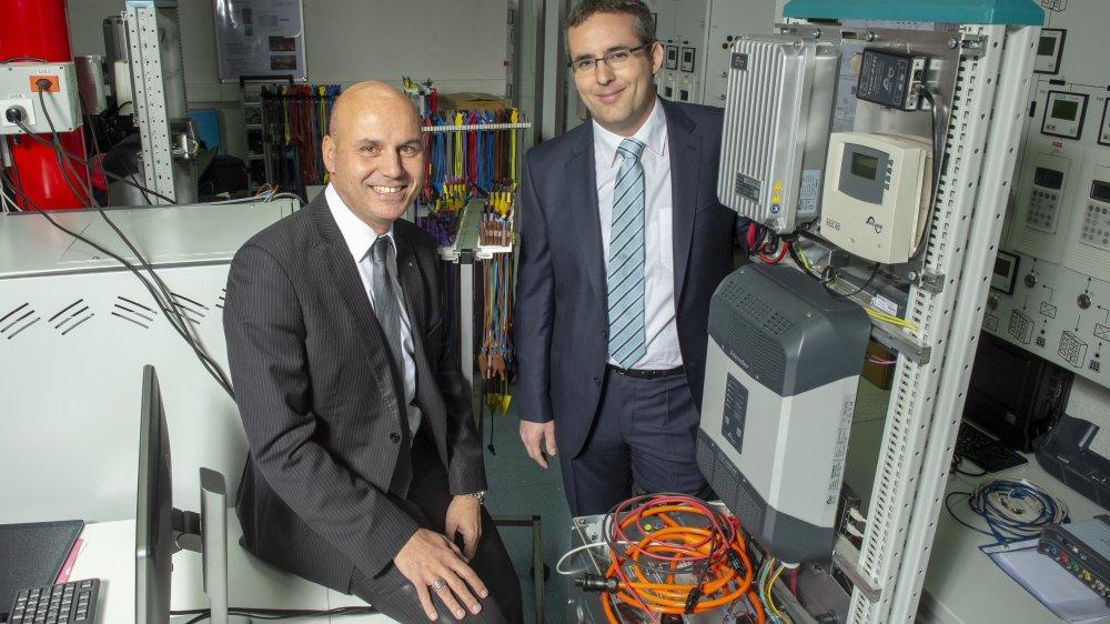 """Le nouvel institut """"Energie et Environnement"""" de la HES-SO Valais entend développer une approche interdisciplinaire de la recherche énergétique appliquée. Avec François Seppey, directeur de la HES-SO Valais et Pierre Roduit, responsable du nouvel institut."""