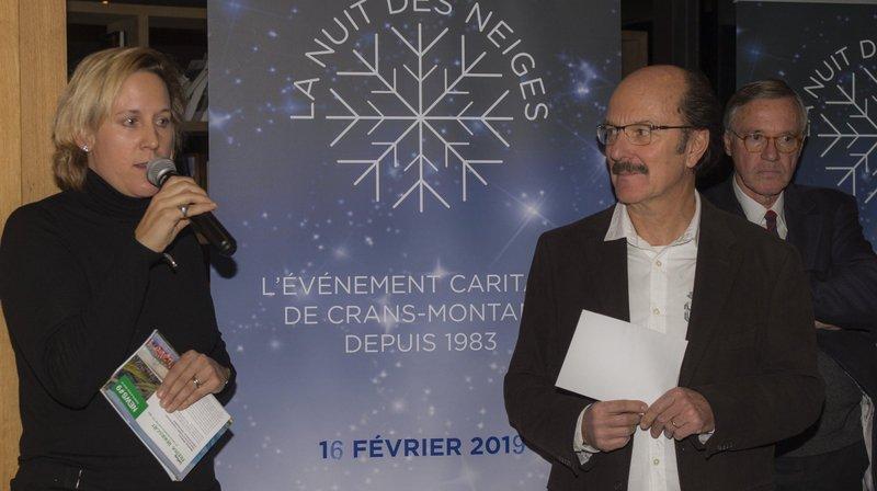 Caroline Ogi, la vice-présidente de l'association C'est formidable, et Jean-François Emery, le vice-président de la Nuit des neiges ont participé au cocktail de jeudi soir à Crans-Montana.