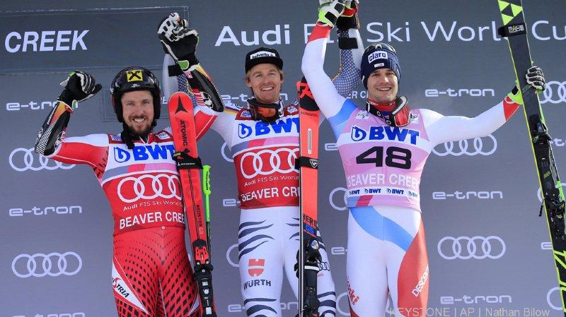 Si Luitz était disqualifié, Hirscher (à gauche) serait premier, et le Suisse Thomas Tumler deuxième.