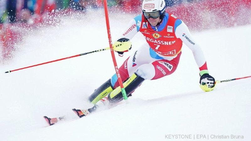 Malgré sa blessure au pouce, Ramon Zenhäusern a su rester au contact des meilleurs sur le premier tracé.