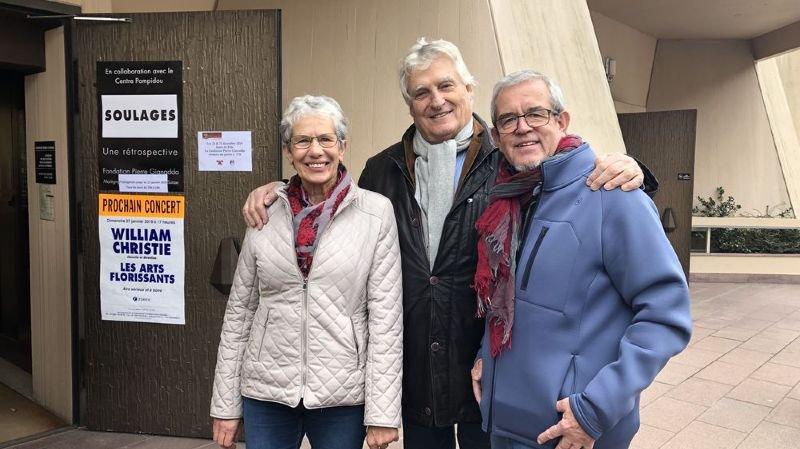 Les Fribourgeois Thèrese Kolly et Georges Guex ont été accueillis à leur arrivée par Léonard Gianadda en personne.