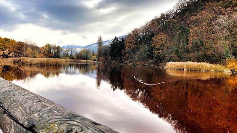 Même rouge, le lac de Montorge n'est pas pollué.