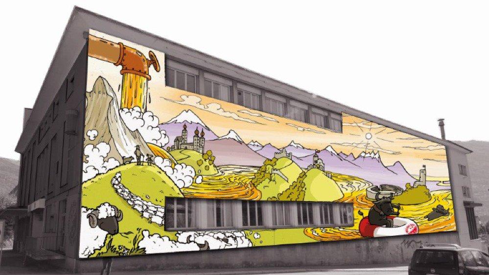 Le projet prévoyait de recouvrir toutes les façades d'une fresque originale.