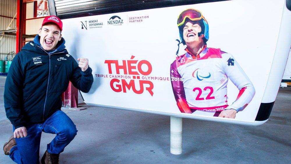 Théo Gmür s'affiche désormais sur une cabine de la station de Nendaz, laquelle l'a vu naître sur des skis.
