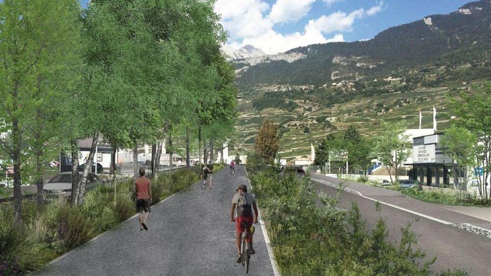 Une mobilité douce intégrée: l'une des ambitions de la refonte de la zone commerciale de Conthey.