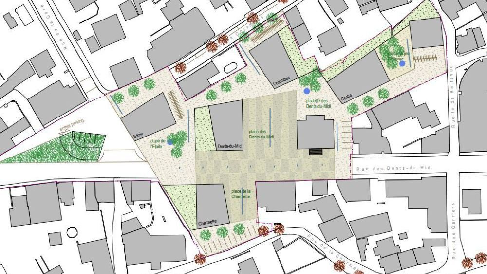"""Le plan de quartier """"Collombey centre"""" prévoit la construction de cinq bâtiments autour de la maison de commune."""